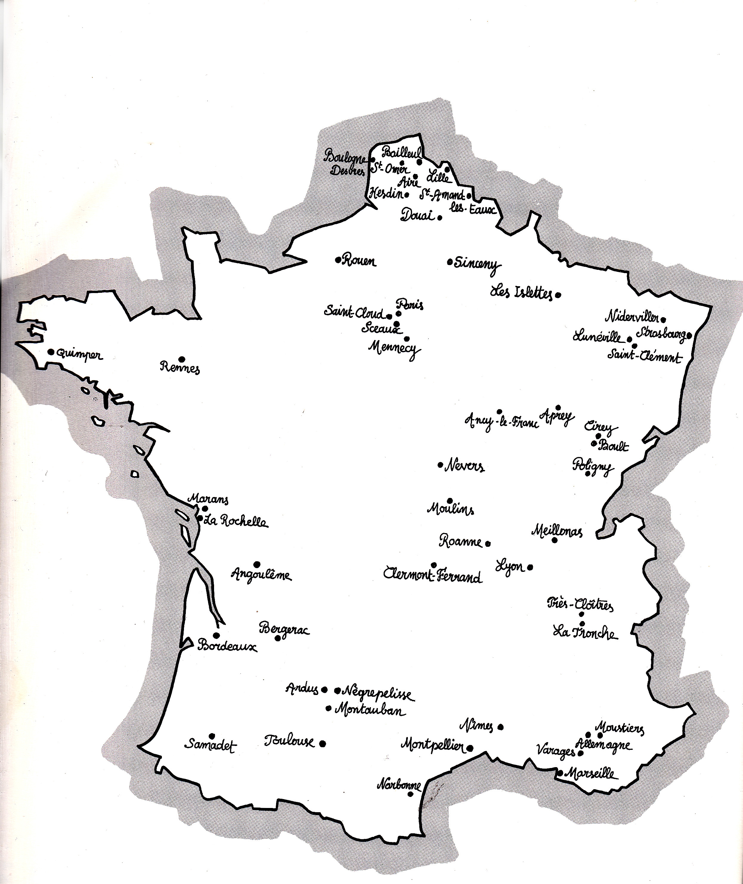 carte de france des manufactures