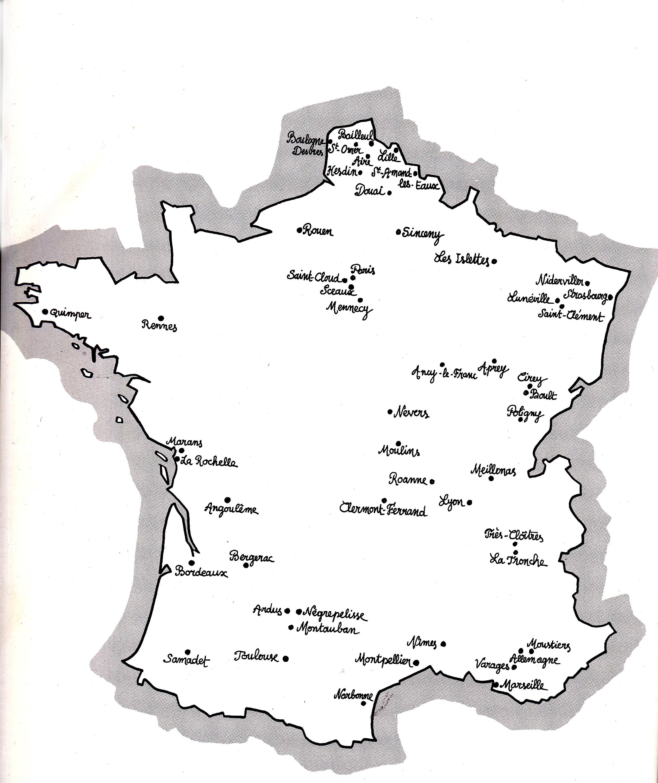 carte de france des manufactures